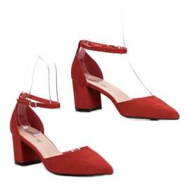 Queen Vivi Zamszowe Czółenka W Szpic czerwone 5