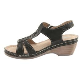 Sandały damskie komfortowe DK czarne szare 2