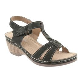 Sandały damskie komfortowe DK czarne szare 1