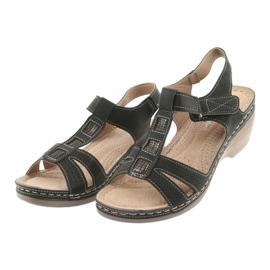 Sandały damskie komfortowe DK czarne szare 3