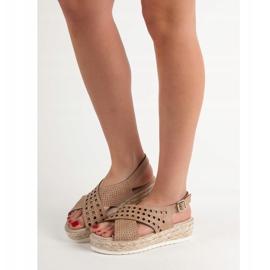 SHELOVET Sandały Espadryle brązowe 2