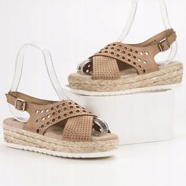 SHELOVET Sandały Espadryle brązowe 1
