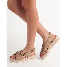 SHELOVET Sandały Espadryle brązowe 3