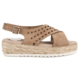 SHELOVET Sandały Espadryle brązowe 4