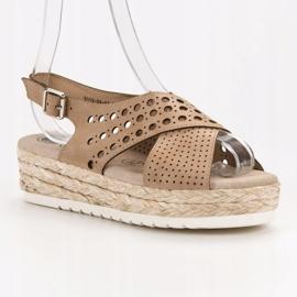 SHELOVET Sandały Espadryle brązowe 5