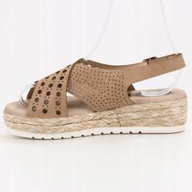 SHELOVET Sandały Espadryle brązowe 6