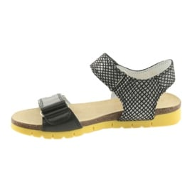 Sandałki dziewczęce Bartek 59183 czarne szare 2