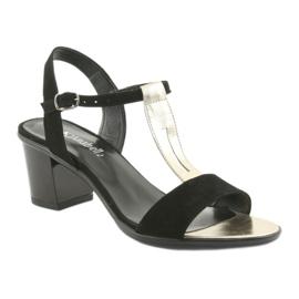 Sandały damskie Anabelle 1447 czarno/złote czarne żółte 1