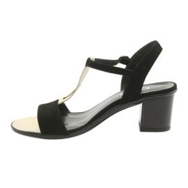 Sandały damskie Anabelle 1447 czarno/złote czarne żółte 2