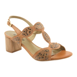 Sandały damskie toffi/panterka Anabelle 1352 brązowe 1