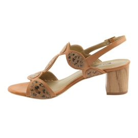 Sandały damskie toffi/panterka Anabelle 1352 brązowe 2