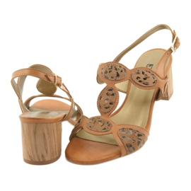 Sandały damskie toffi/panterka Anabelle 1352 beżowy 4