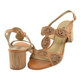 Sandały damskie toffi/panterka Anabelle 1352 brązowe 4
