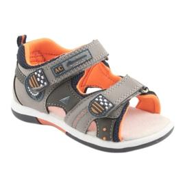Sandałki chłopięce American Club DR13 szare pomarańczowe granatowe 1