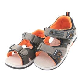 Sandałki chłopięce American Club DR13 szare pomarańczowe granatowe 3