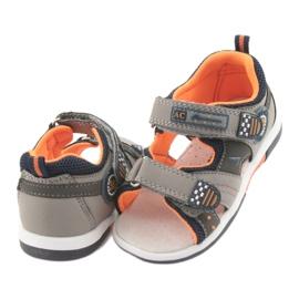 Sandałki chłopięce American Club DR13 szare pomarańczowe granatowe 4