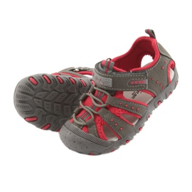 Sandałki chłopięce rzep American Club DR11 szare czerwone 5