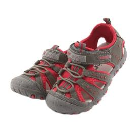Sandałki chłopięce rzep American Club DR11 szare czerwone 3