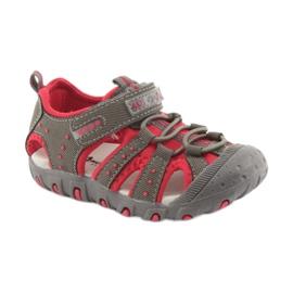 Sandałki chłopięce rzep American Club DR11 szare czerwone 1