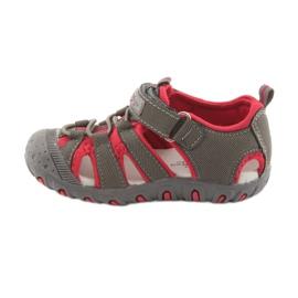 Sandałki chłopięce rzep American Club DR11 szare czerwone 2