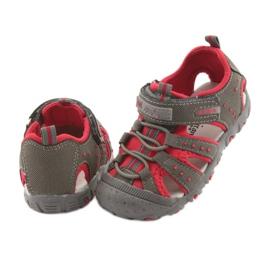 Sandałki chłopięce rzep American Club DR11 szare czerwone 4