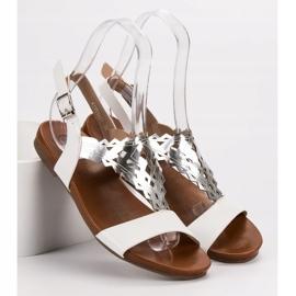 Kylie Stylowe Płaskie Sandałki białe 2