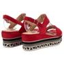 Primavera czerwone Sandały Na Koturnie Boho zdjęcie 4