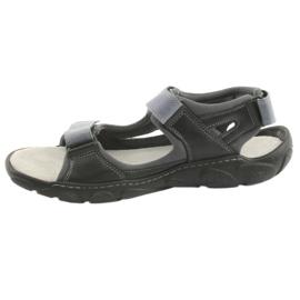 Sandały skórzane na rzepy Naszbut 043 czarne niebieskie szare 2