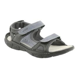 Sandały skórzane na rzepy Naszbut 043 czarne niebieskie szare 1