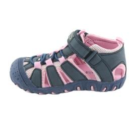 Sandałki sportowe American Club niebieskie różowe 2