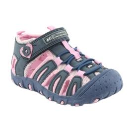 Sandałki sportowe American Club niebieskie różowe 1