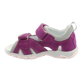 Sandałki Na Rzepy Bartek 16187 fuksja szare różowe 2