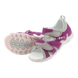 Sandałki Na Rzepy Bartek 16187 fuksja szare różowe 5