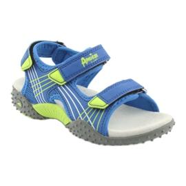 Sandałki chłopięce American Club HL16 blue/lime niebieskie zielone 1