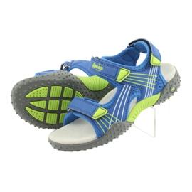 Sandałki chłopięce American Club HL16 blue/lime niebieskie zielone 4