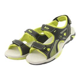 Sandałki chłopięce sportowe American Club RL22 czarne zielone 3