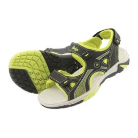 Sandałki chłopięce sportowe American Club RL22 czarne zielone 4
