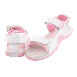 Sandałki dziewczęce sportowe American Club białe szare różowe 4