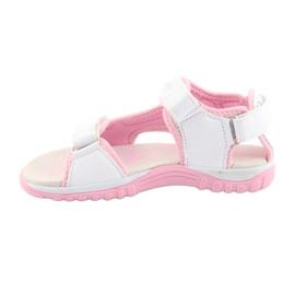 Sandałki dziewczęce sportowe American Club białe szare różowe 2