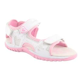 Sandałki dziewczęce sportowe American Club białe szare różowe 1