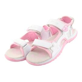 Sandałki dziewczęce sportowe American Club białe szare różowe 3