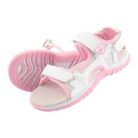 Sandałki dziewczęce sportowe American Club białe szare różowe 5