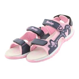 Sandałki dziewczęce sportowe American Club różowe granatowe 2