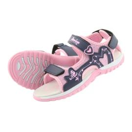 Sandałki dziewczęce sportowe American Club różowe granatowe 4