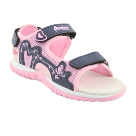 Sandałki dziewczęce sportowe American Club różowe granatowe 1