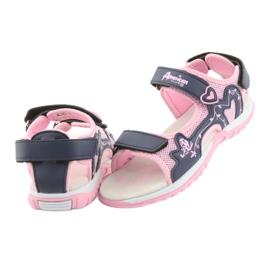Sandałki dziewczęce sportowe American Club różowe granatowe 3
