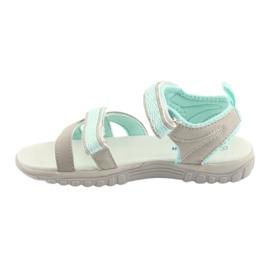 Sandałki dziewczęce sportowe American Club HL14 grey/mint szare zielone 2