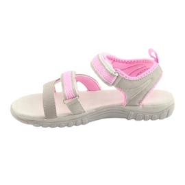 Sandałki dziewczęce sportowe American Club HL14 grey/pink szare różowe 2