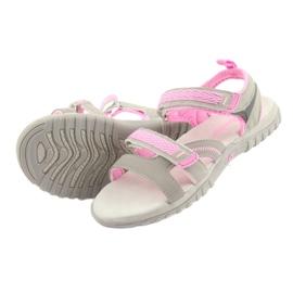 Sandałki dziewczęce sportowe American Club HL14 grey/pink szare różowe 4