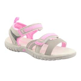 Sandałki dziewczęce sportowe American Club HL14 grey/pink szare różowe 1